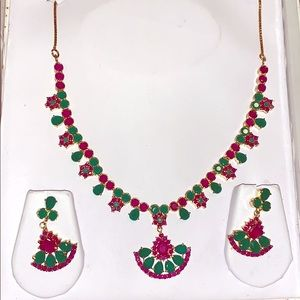 22 Karat Plated Ruby and Emerald Indian Jewelry